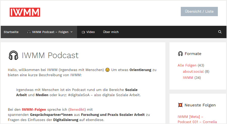 IWMM – Podcast rund um die Bereiche Soziale Arbeit und Medien