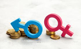 Zwei unterschiedlich große Münzstapel mit den Symbolen für Mann und Frau symbolisieren den Gender Pay Gap