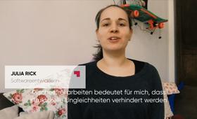 Julia Rick, Softwareentwicklerin bei der BROCKHAUS AG im Videostatement der BROCKHAUS AG