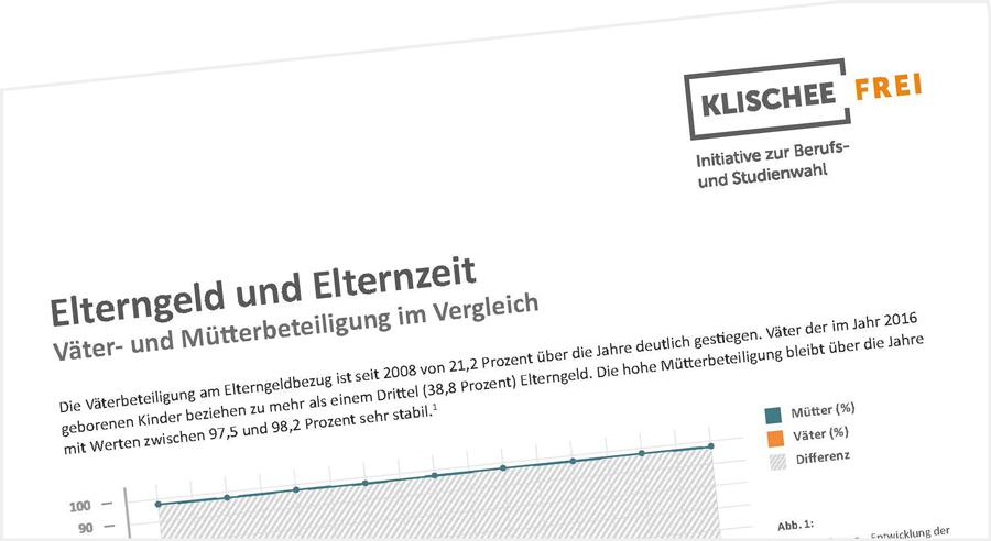 Vorschaubild des Klischeefrei-Faktenblatts zum Thema Elterngeld und Elternzeit