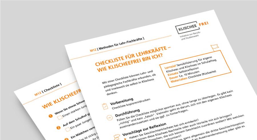 M12 – Checkliste für Lehrkräfte: Wie klischeefrei bin ich?