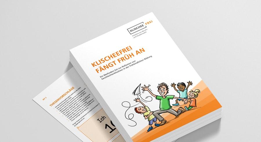 """Cover und Blätter des Methoden-Sets """"Klischeefrei fängt früh an"""""""