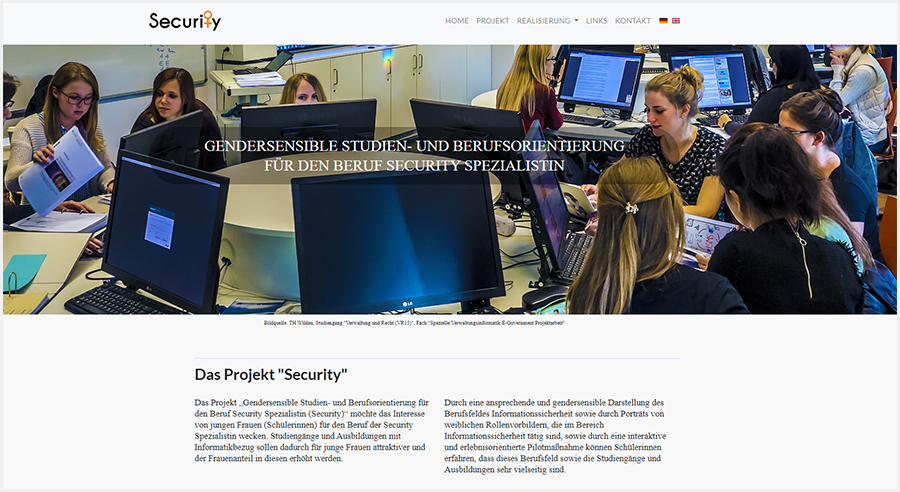 "Screenshot der Website des Projekts ""Security"" der TH Wildau"
