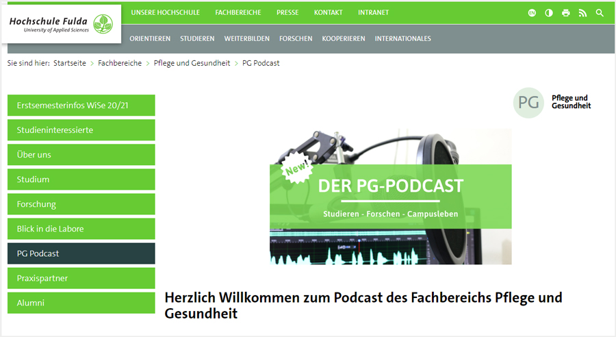 PG Podcast – Fachbereich Pflege und Gesundheit HS Fulda