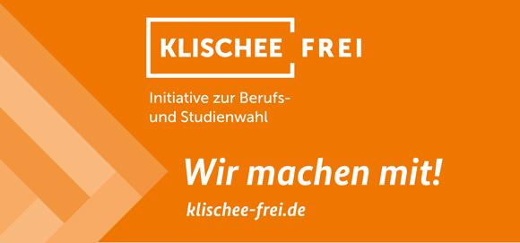 """Schild der Initiative Klischeefrei mit Schriftzug """"Wir machen miti"""" und Logo der Initiative"""