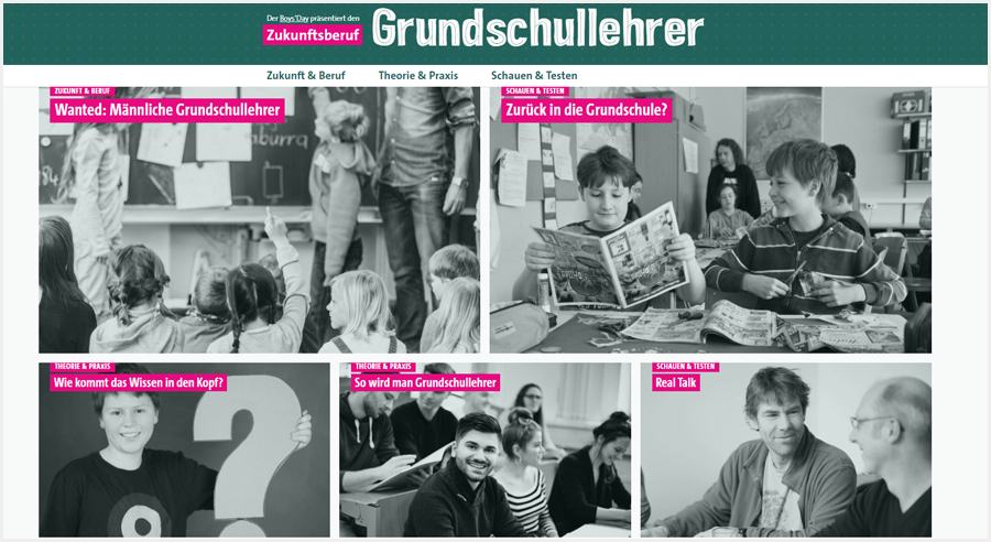 Boys'Day wirbt mit neuer Website für Zukunftsberuf Grundschullehrer