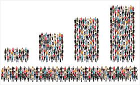 Mehrere aus Menschen gebildete Balkendiagramme symbolisieren Statistikdiagramm
