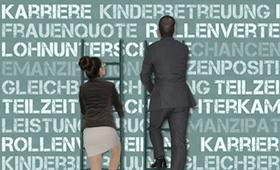 Zecihnung: Mann und Frau klettern Karriereleitern hoch, im Hintergrund sind verschiedene Schlagworte zu sehen