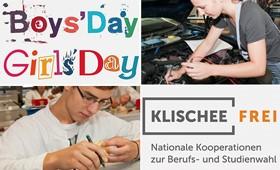 Foto mit den Logos der Initiative Klischeefrei und dem Girls' und Boys'Day sowie Foto einer jungen Mechatronikerin und einem Azubi des Büromanagements