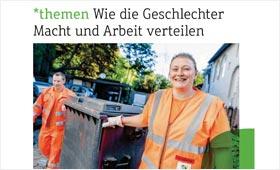 Titelbild der aktuellen Ausgabe: Männer und Frauen bei der Müllabfuhr